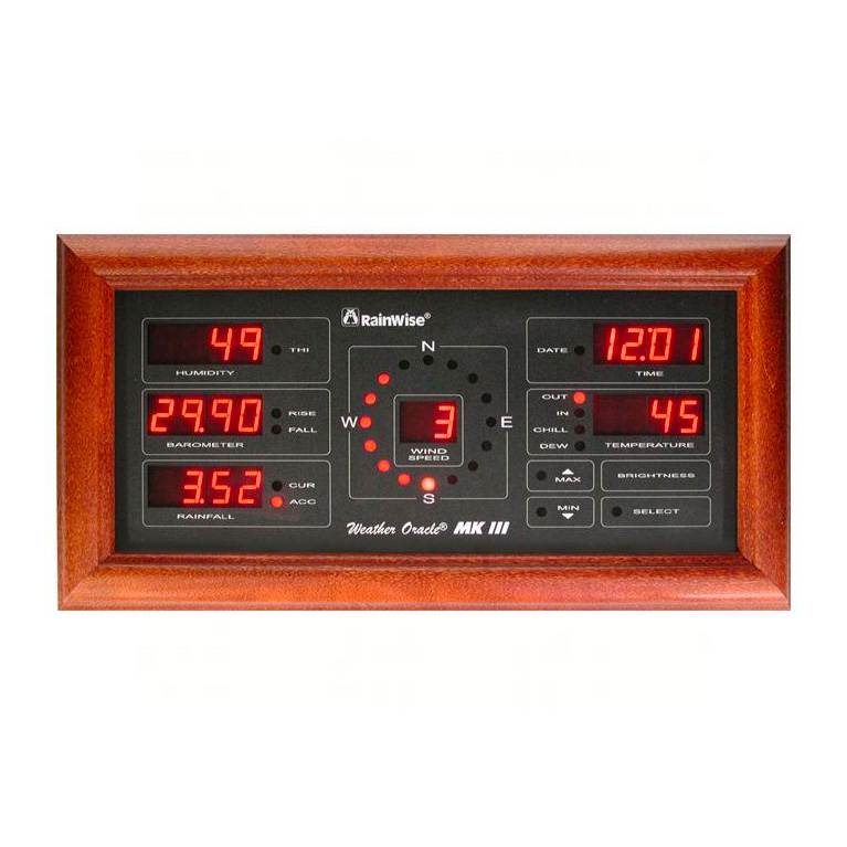 Weather Oracle MK III Long Range Display - Cherry Frame